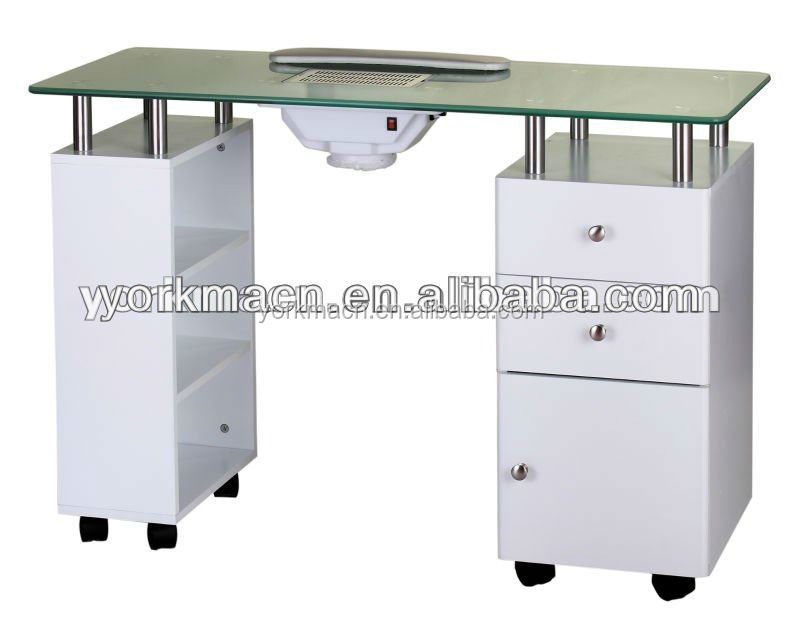 Nail table with glass top and draft fan