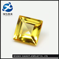 square shape step cut yellow synthetic sapphire price