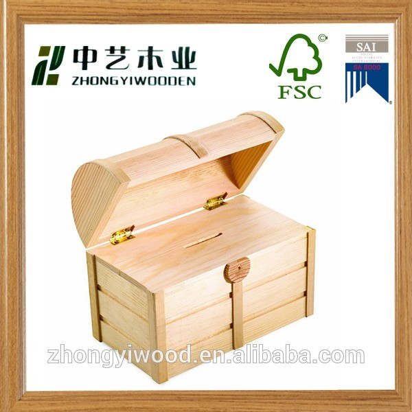 Good quality decorative handmade safe bank wooden money saving box for kids wholesale