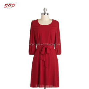 Ladies Long Sleeve Red Chiffon Dress Woman Perfection Smart Casual Dress