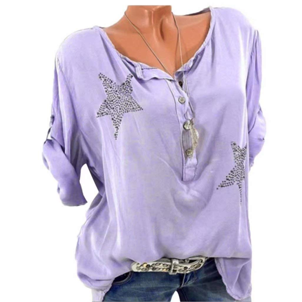 f181761b4686f Women Tops Daoroka Plus Size Three Quarter Sleeve O-Neck Button Five-