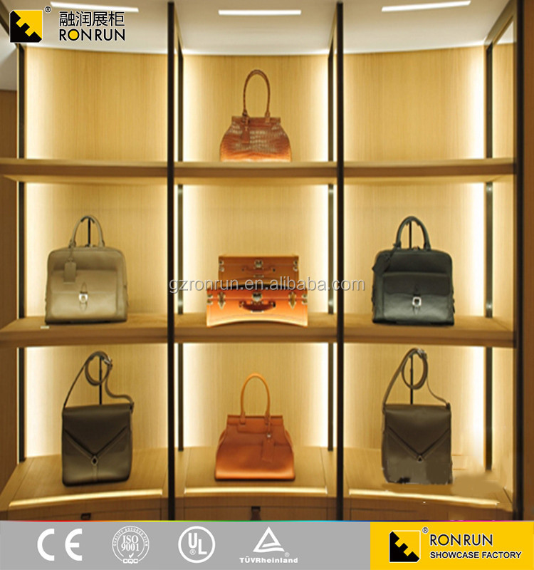 RCS2037 High End Garment Wall Wood Showcase Designs And Luggage Wooden  Furniture Showcase And Bags