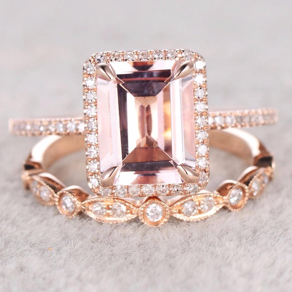 Rose Gold Plated 925 Sterling Silver Cubic Zirconia CZ Halo Diamond Emerald Cut Morganite Wedding Ring Set