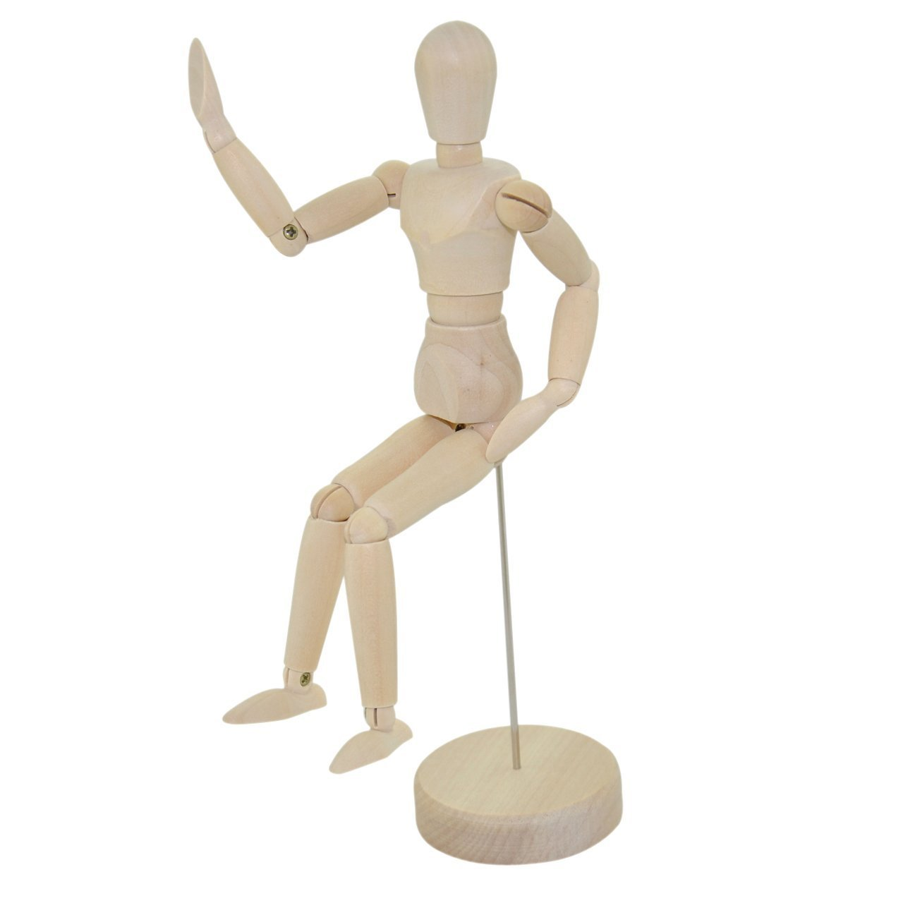 For Art Supply Drawing Sketch Art Manikin-For Commercial Sample Display Wood Unisex Art Mannequin DecorLux WHITE Wooden Sectioned Postural Adjustable Body 13 with Stand