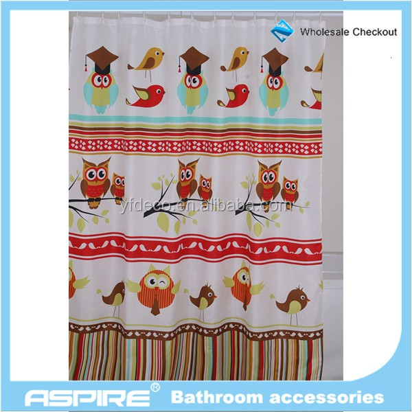 Wholesale Checkout Matching set Hookless Polyester Shower Curtain