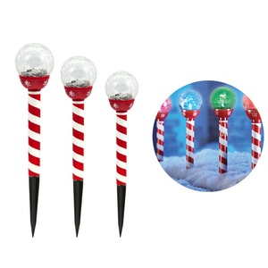 Solar Pathway Lights Christmas Candy Cane Crackle Color-Changing Glass Ball Holiday Landscape Lighting (JL-8521)