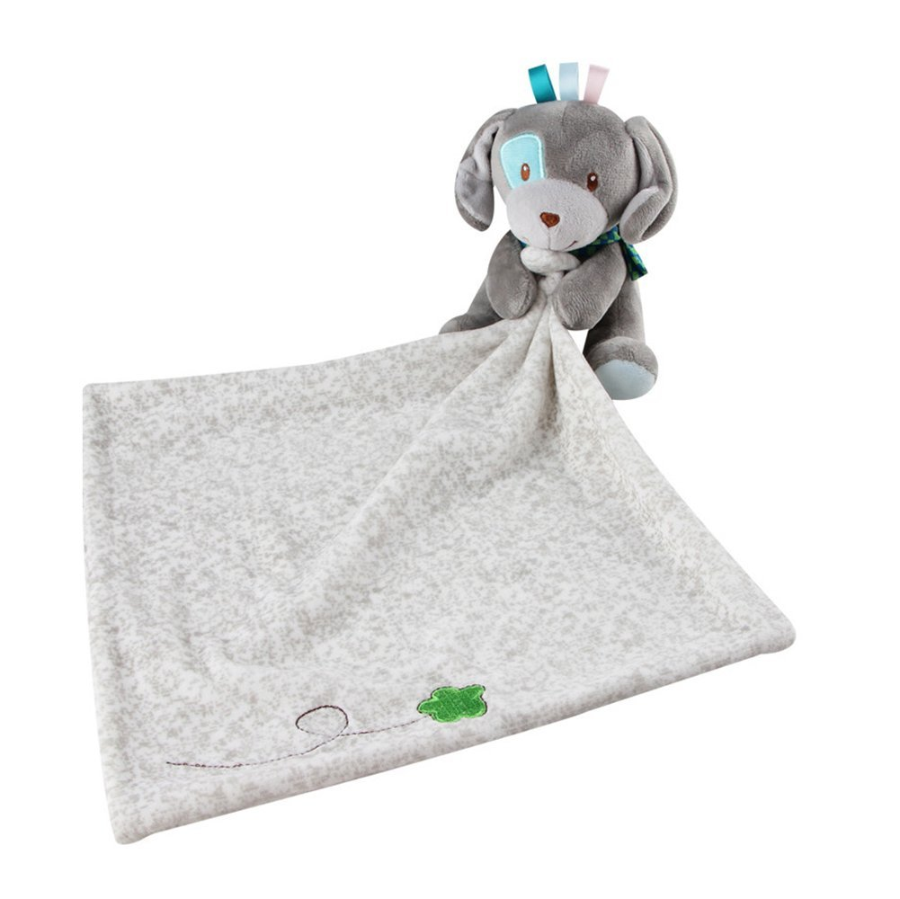 INCHANT Lovely Security Blanket 30 x 29Cm Stuffed Animal Baby Blankie for Girls or Boys,comforter Blanket Soother Security Blanket (Gray Dog)