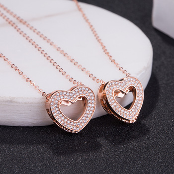 AP22566 wholesale fashion Double heart shape 925 silver necklace jewelry Dropshipping