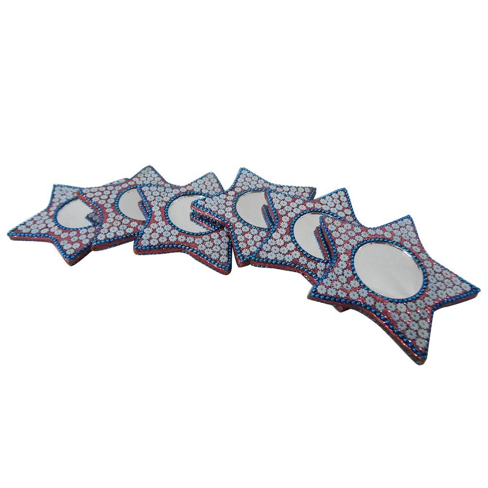 Antique Style Mirror Set of 6 Pcs Decorative Mdf Lac Material Mirror Women's Makeup Mirror Star Shape Purse Accessories Handmade Gift Item