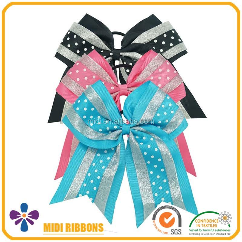 3 Inch Glitter Hair Bow Blue Black Pink Grosgrain Ribbon Cheer With Elastic Rubber