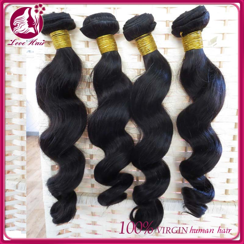 Natural unprocessed china supply virgin indonesian hair weave loose wave