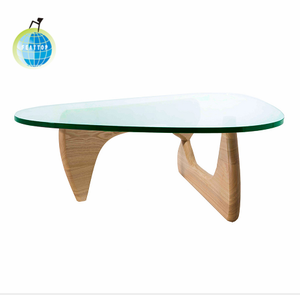 Wholesale round tempered glass desk with wooden legs tea table/coffee table