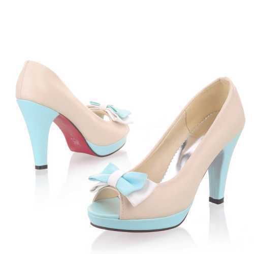 Big Size 32-43 Mature Pumps Peep Toe Platfrom Shoes Sweet Butterfly-Knot Ultra High Heels Slip-On Party Casual Shoes