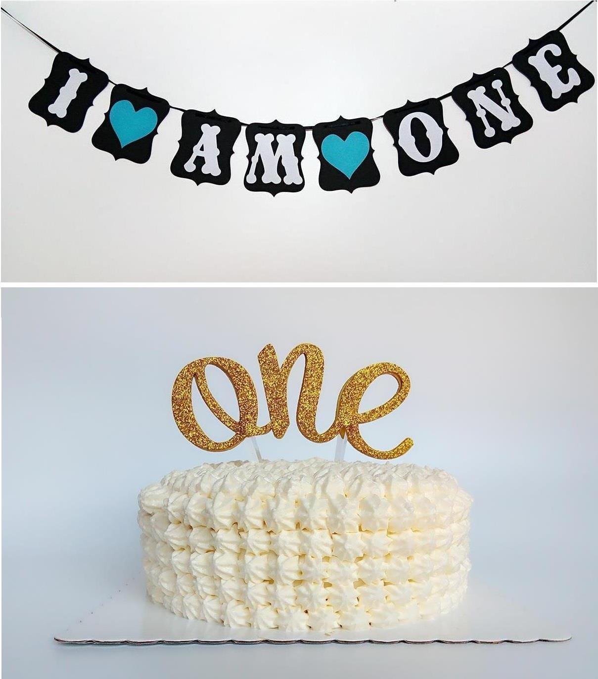Buy Sweet Heart First Birthday Cake Topper QuotOnequot Decoration Amp QuotI Am Onequot Banner For Baby Boy In Cheap Price On