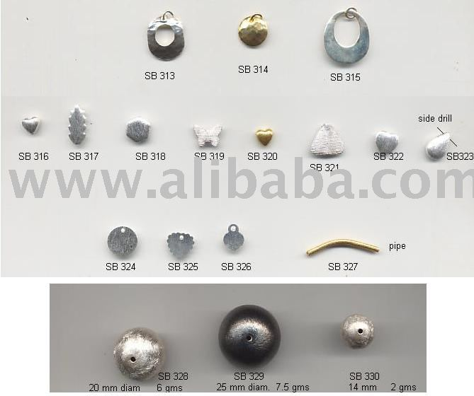 Silver (925) & Gold-plated Findings, Charms, Earhooks, Headpins, Beads, Locks