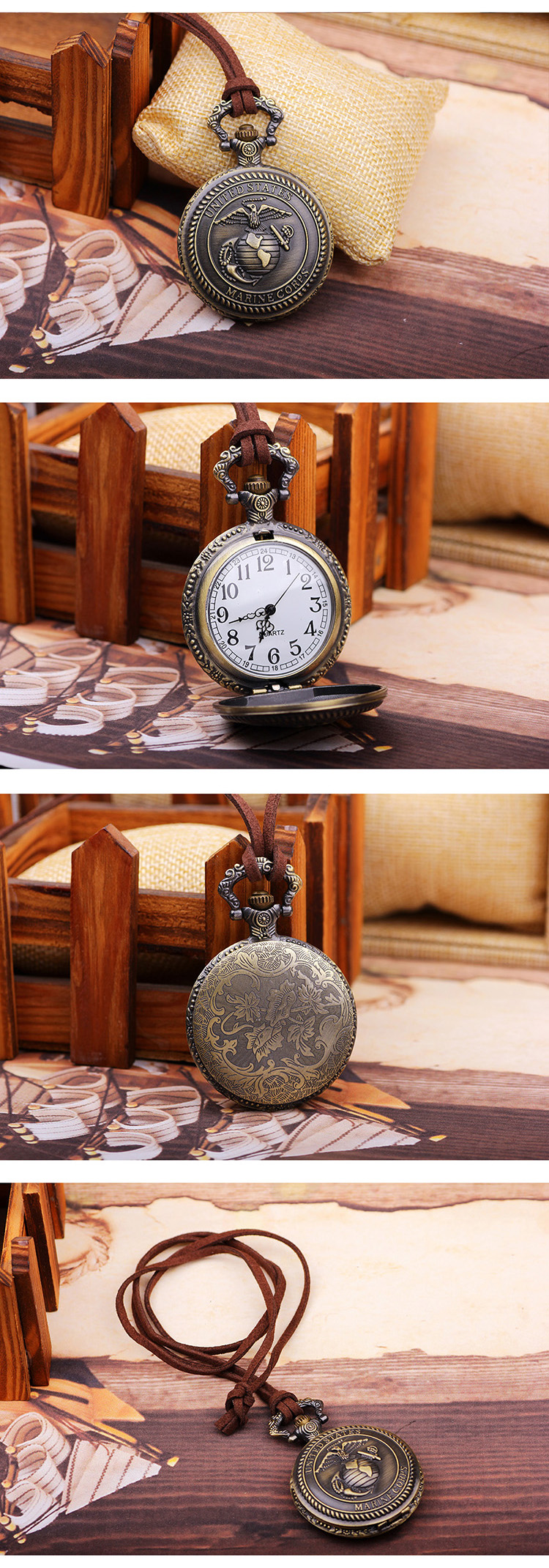 US Marine Corps Pattern Top Watch Souvenir Necklace Pocket Watch for gift items