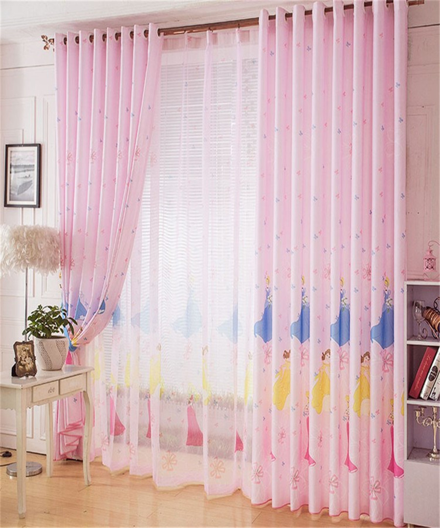 Curtain for children bedroom cartoon princess print - Childrens bedroom blackout curtains ...