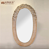 Resin rose decorative oval wall mirror