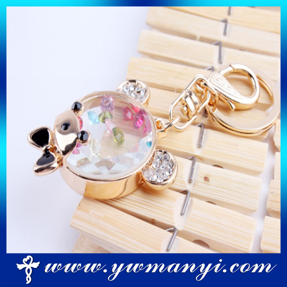 Fashion product transparent metal frame crystal keychain K0019