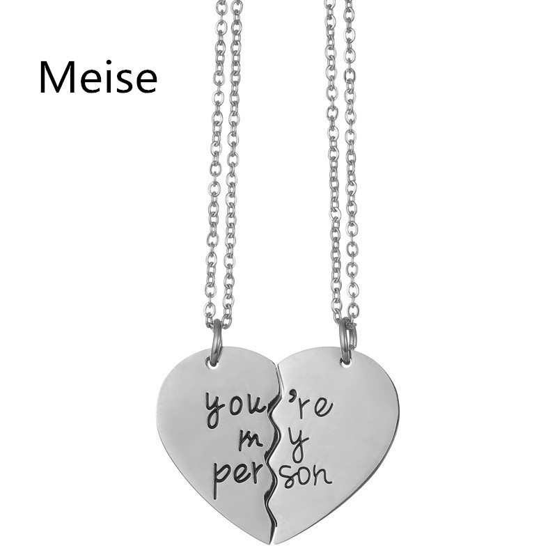 Yiwu Meise New arrival promotional couple pendant necklace custom engraving silver plated broken heart pendant