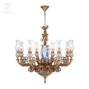 Wholesales 8 arms mediterranean light brass lamp ceramic lamps flower finishing glass lamp shade chandelier exquisite lighting