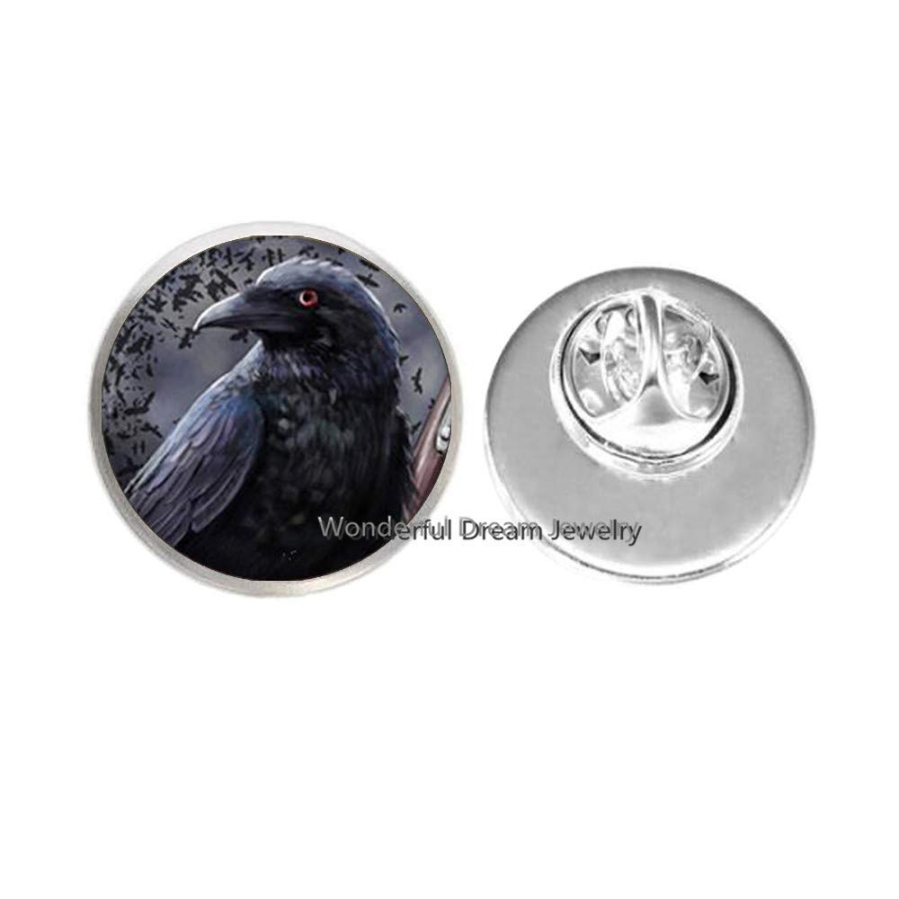 New Fashion Glass Photo Pin Neckalce Black Bird Brooch Black Bird Raven Pin Glass Dome Pin for Jewelry,PU200 (Silver)