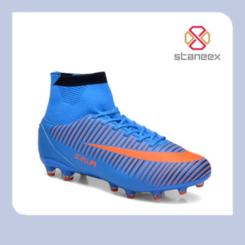 China Manufacturer Hot Style Branded Football Shoe Fly Fabric Lining Fashion Comfortable Soccer Boots High Ankle Soccer Shoe