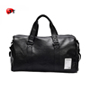 Large Capacity Custom Vintage Waterproof Stylish Black Mens Travel Leather Duffle Bag With Shoes Compartment