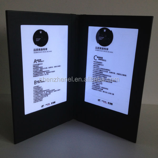 customized any leather cover led lighted restaurant menu, led menu book for club