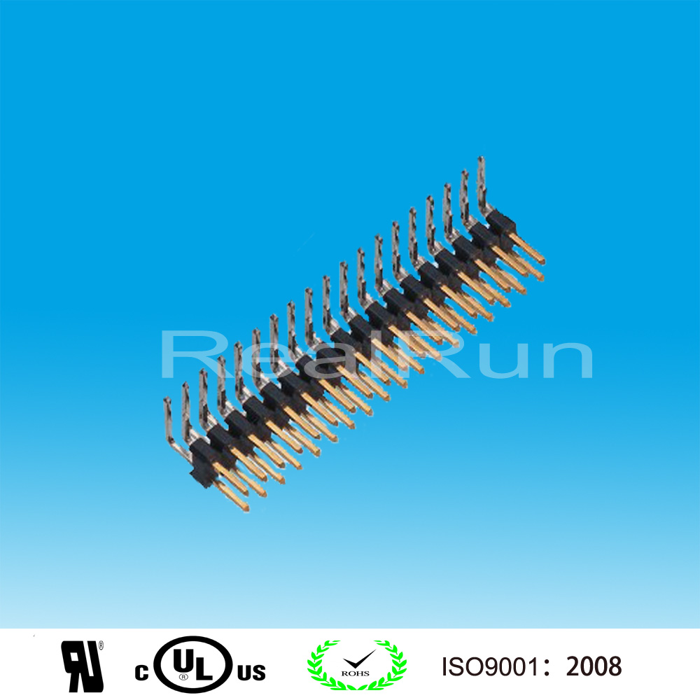 Gold plated 2.54mm Pitch Single Layer Double Row Angle 36 Pin Header