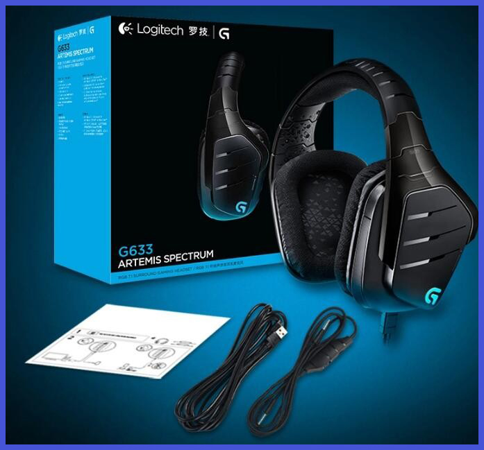 61a3abed439 Logitech G633 Artemis Spectrum RGB 7.1 Surround Sound Gaming Headset  Headphones for PC/PS/