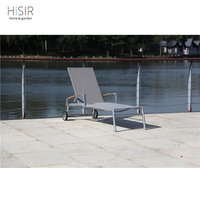 Modern beach lounge chair malaysia with teak wood armrest