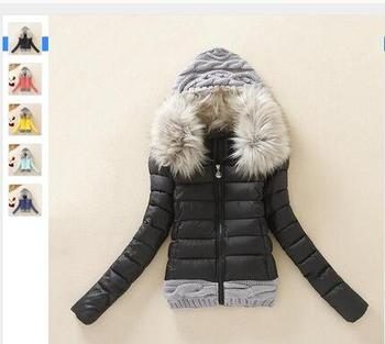 2016 Winter Wool Cap Stitching Fur Collar Padded Winter Coats For ...