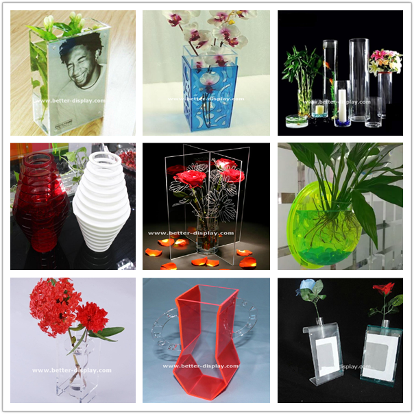 Wholesale acrylic square clear vase insert with photo