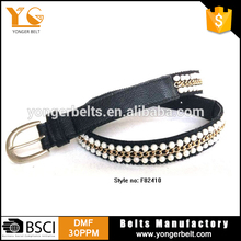 High quality handmade stiching fashion jeans skinny beaded hot belt womens