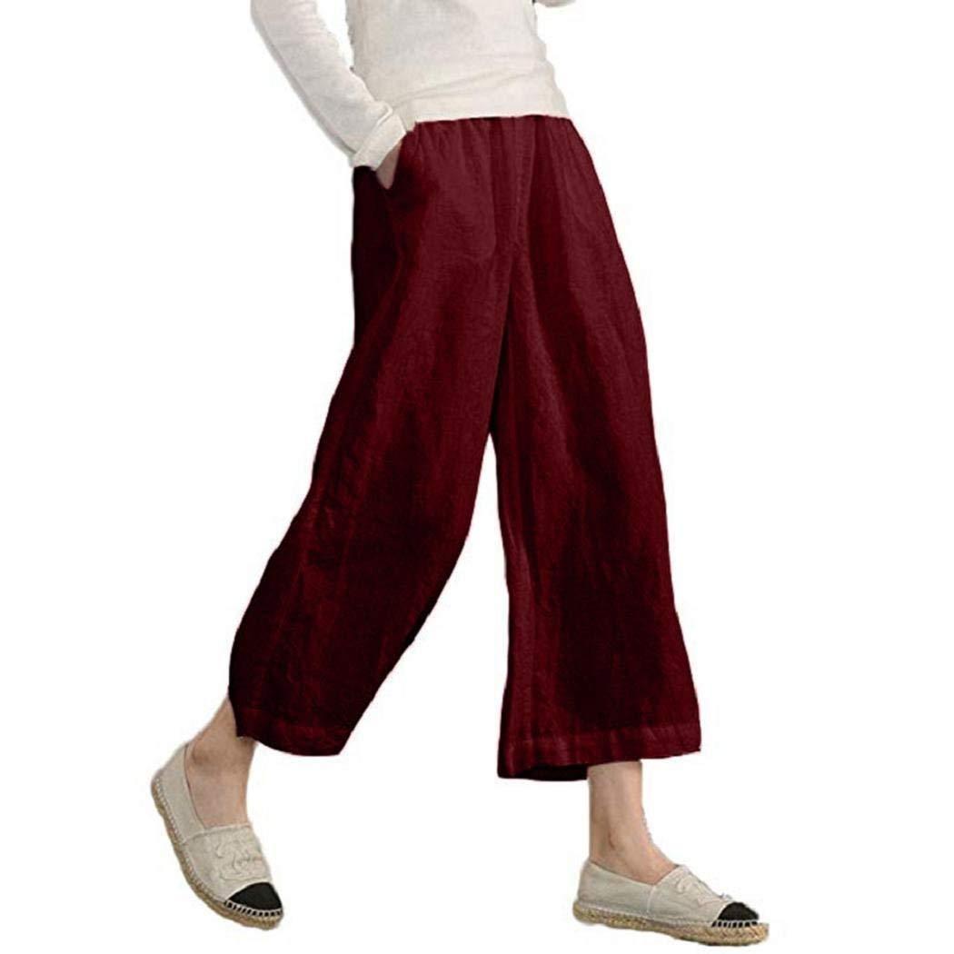 1648df2bdf215 ShenPr Clearance Womens Casual Loose Plus Size Elastic Waist Cotton Linen  Trouser Cropped Wide Leg Pants