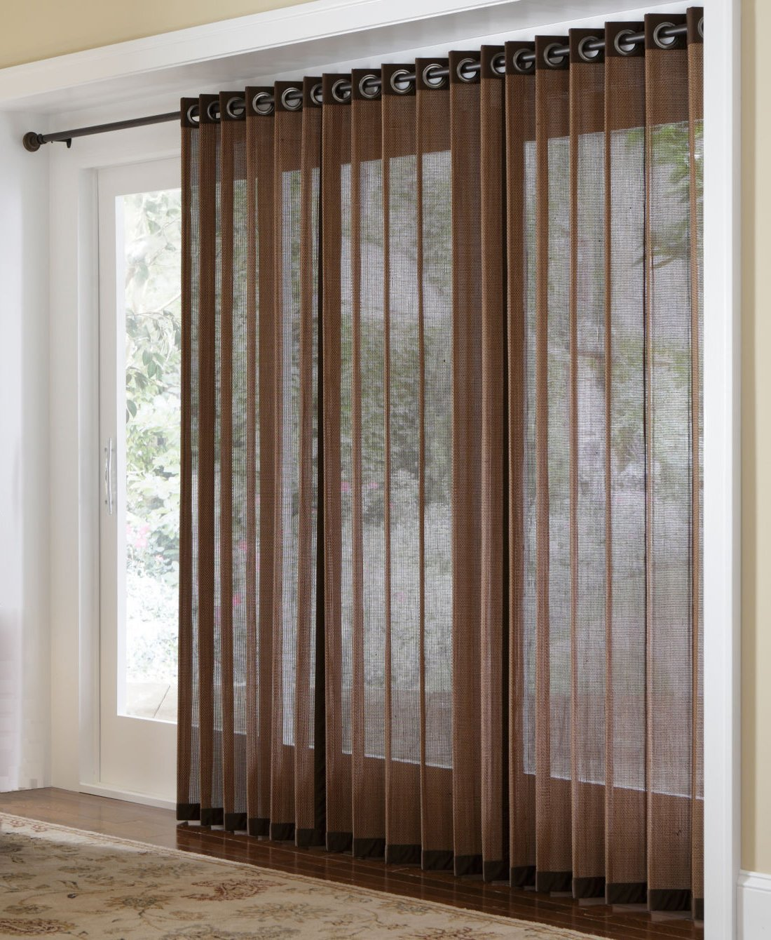 Get Quotations · Bamboo Grommet Top Panels For Sliding Glass Doors And  Large Windows Brown 48x63
