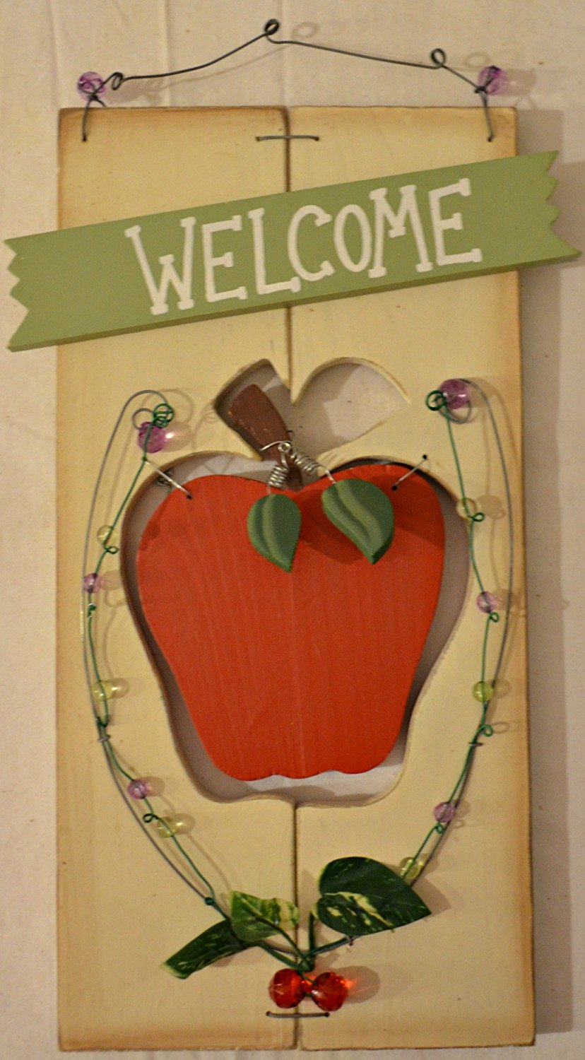 """Rustic Country Wood Plaque Sign Decoration Apple Themed with a Metal Wire for Hanging 9 x 14 1/2 x 1/4 Inches. Wooden Sign Saying """"Welcome"""" with Decoration Metal Wires with Beads, Apple Leaves, Apple Shaped Cutout with Red Wood Apple Hanging in Center"""