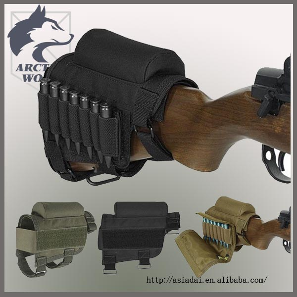 Tactical Adjustable Crown Rifle Stock Cheek Rest With Clip Ammo Carrier