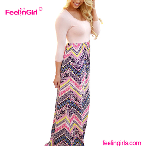 Unique Top Pattern Long Sleeve Bohemian Ladies pink maxi dress