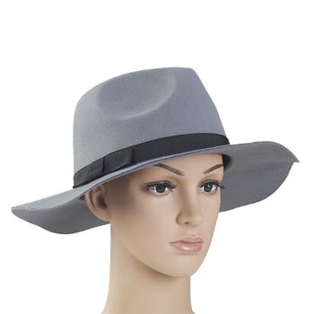 acb03ba51bbcb8 Black Vintage Style Men's Women's Hard Felt Wide Brim Fedora Trilby Panama  Hat