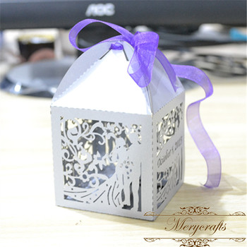 Laser Cut European Bride And Groom Wedding Favors Door Gift Box