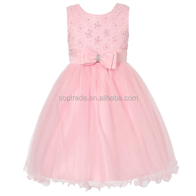 Child Formal Dress Design Girls Pink Party Wear Long Dresses For 8 Years Old Girls
