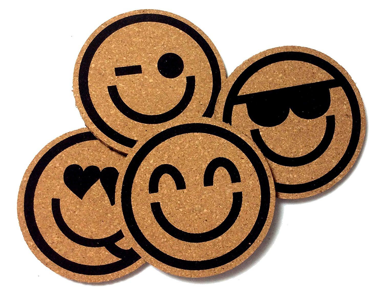 Drink Coaster - Happy Faces Emoji Cork Coasters, Set of 4 by Riun Exhange