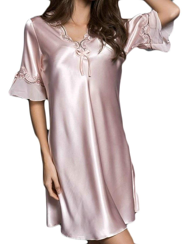 Get Quotations · Cromoncent Women Short Sleeve Faux Silk Sleep Dress Silk  Summer Sexy Nightwear Nightgowns b8ffba9e7