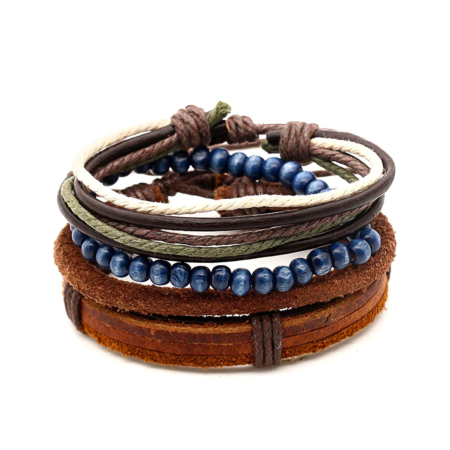 lauhonmin 4pcs Bracelet for Men Women Hemp Cords Wood Bead Bracelets Leather Wristbands Handmade Adjustable