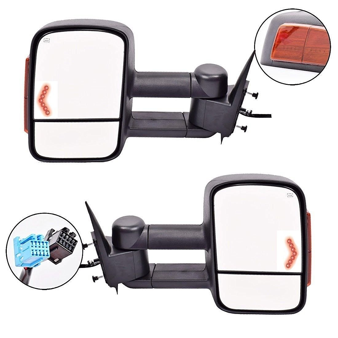 Scitoo Power Heated Side Lights Arrow Turn Signals Side View Mirrors for 03-06 (07 classic) Chevy/GMC Silverado/Sierra Telescoping Towing Mirror Pair Set
