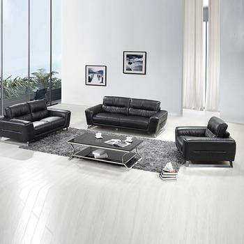 Guangzhou Furniture Modern Sofa Ruang Tamu Kulit Hitam Nyata Untuk