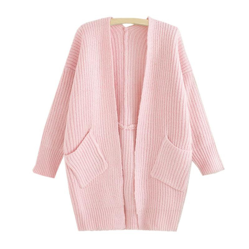 6d738ed2831 Get Quotations · 2015 Autumn Women s Slim Long Knitting Sweaters Fashion  WINTER FALL cardigan pink Clothing Women Sweaters Coats