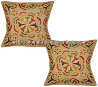 Hand Embroidered Cushion Covers Indian Vintage Design Throw Pillowcase 16x16 Inches